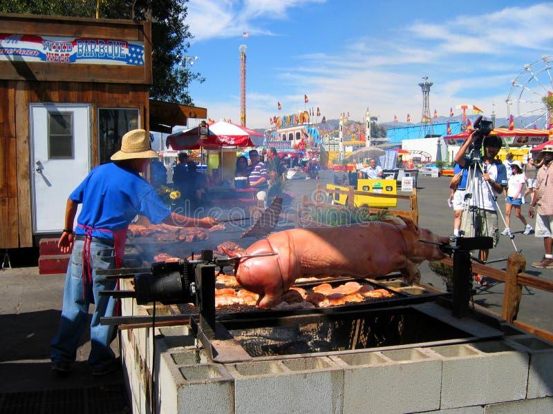 Pieczona świnia, Los Angeles okręgu administracyjnego jarmark, Fairplex, Pomona, Kalifornia fotografia royalty free
