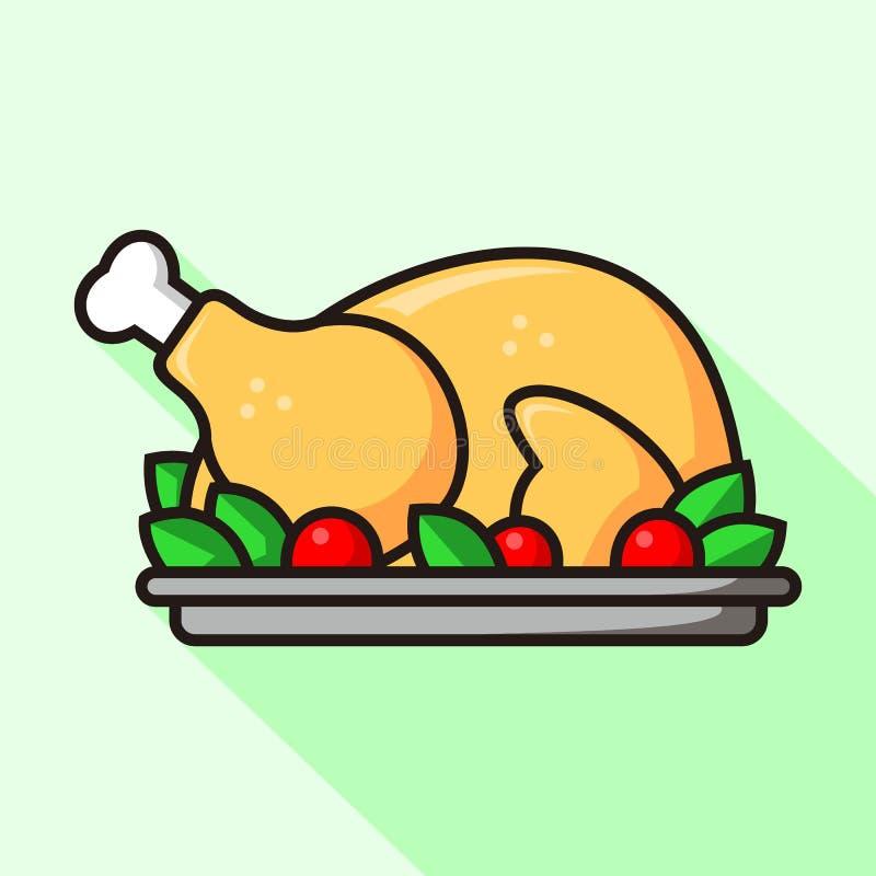 Pieczona indyka lub kurczaka ikony kreskówki wektoru płaska ilustracja ilustracji