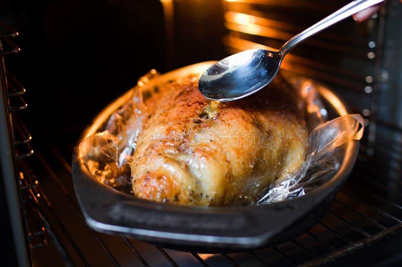 Pieczona kaczka w piekarniku zdjęcie stock