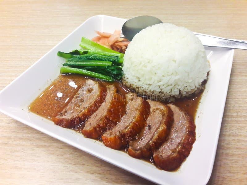 Pieczona kaczka z ryż obrazy royalty free