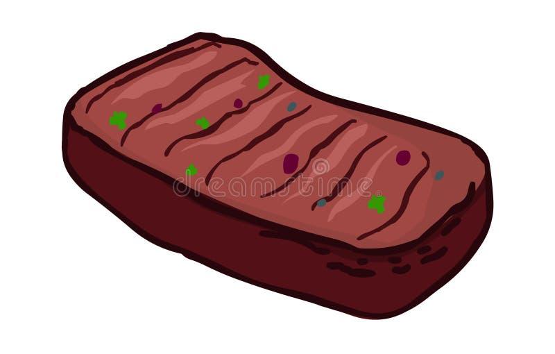 Pieczona wołowina Mięsna karmowa ilustracja ilustracja wektor