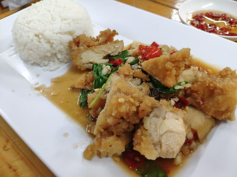 Pieczonego kurczaka basila ryż zdjęcie stock
