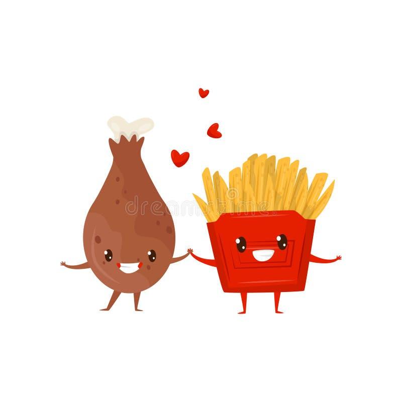 Pieczonego kurczaka drumstick i francuscy dłoniaki jesteśmy przyjaciółmi na zawsze, fasta food menu śmieszne postacie z kreskówki ilustracja wektor