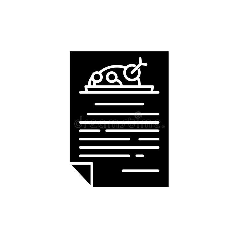 Pieczonego kurczaka menu czerni ikona, wektoru znak na odosobnionym tle Pieczonego kurczaka menu pojęcia symbol, ilustracja royalty ilustracja