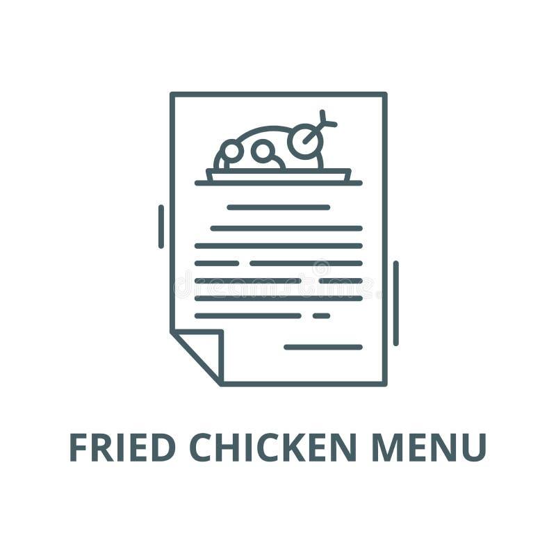Pieczonego kurczaka menu wektoru linii ikona, liniowy pojęcie, konturu znak, symbol ilustracji