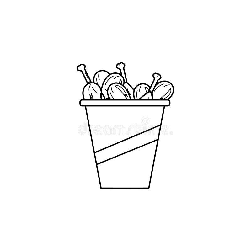 Pieczony kurczak iść na piechotę ikonę Element fast food dla mobilnych pojęcia i sieci apps Cienka kreskowa ikona dla strona inte royalty ilustracja