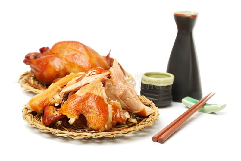 Pieczony kurczak i chińczyk modna kolba, wina szkło obrazy stock