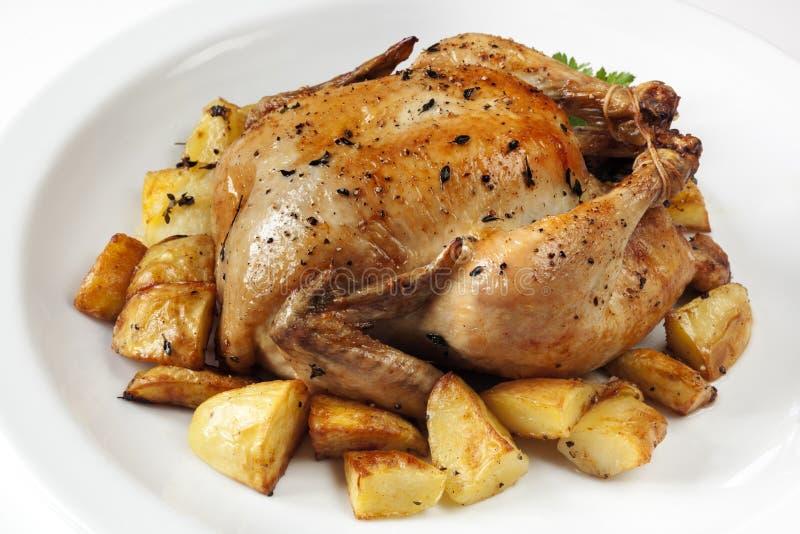 Pieczony kurczak i grule fotografia royalty free