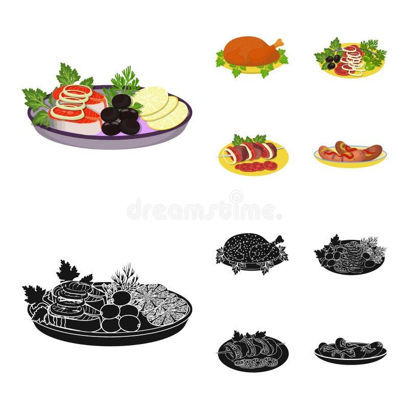 Pieczony kurczak, jarzynowa sałatka, shish kebab z warzywami, smażyć kiełbasy na talerzu Jedzenie i kucharstwo ustalona kolekcja royalty ilustracja
