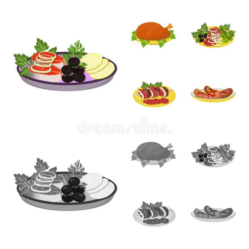 Pieczony kurczak, jarzynowa sałatka, shish kebab z warzywami, smażyć kiełbasy na talerzu Jedzenie i kucharstwo ustalona kolekcja ilustracja wektor