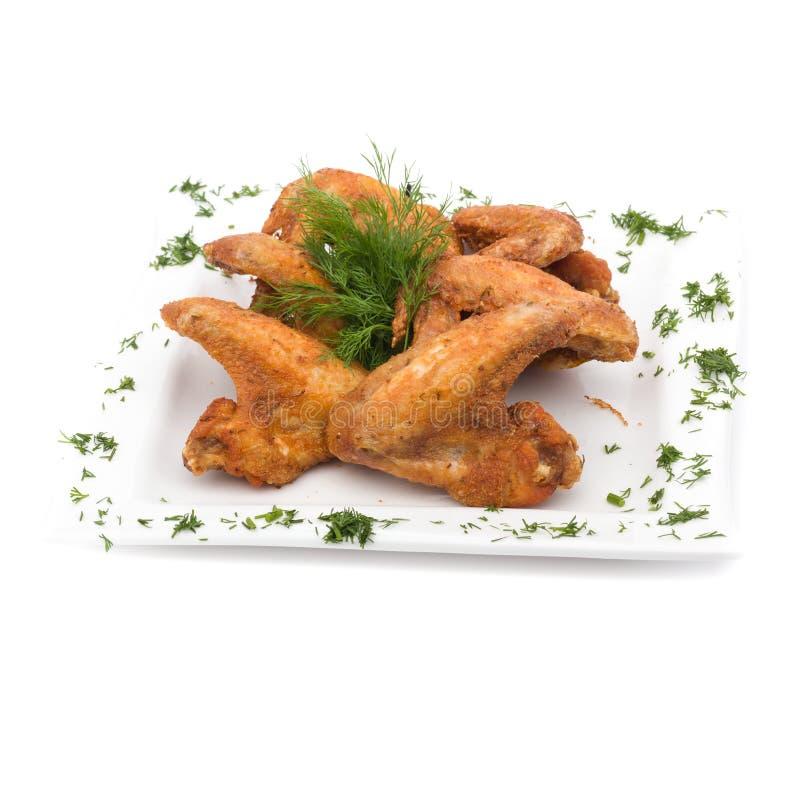 Pieczony Kurczak Uskrzydla na bielu obraz stock