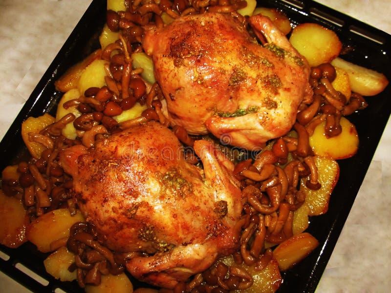 Pieczony kurczak z pieczarkami i grulami zdjęcie royalty free