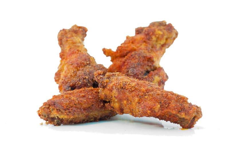 Pieczonych kurczaków skrzydła odizolowywający zdjęcie royalty free