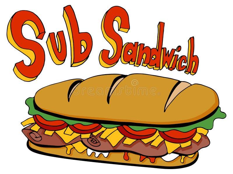 Pied de dessin de sandwich à sous-marin de coupe froide long illustration libre de droits