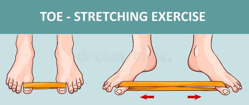 Pied du ` s de femme avec la bande élastique exécutant étirant l'exercice illustration de vecteur