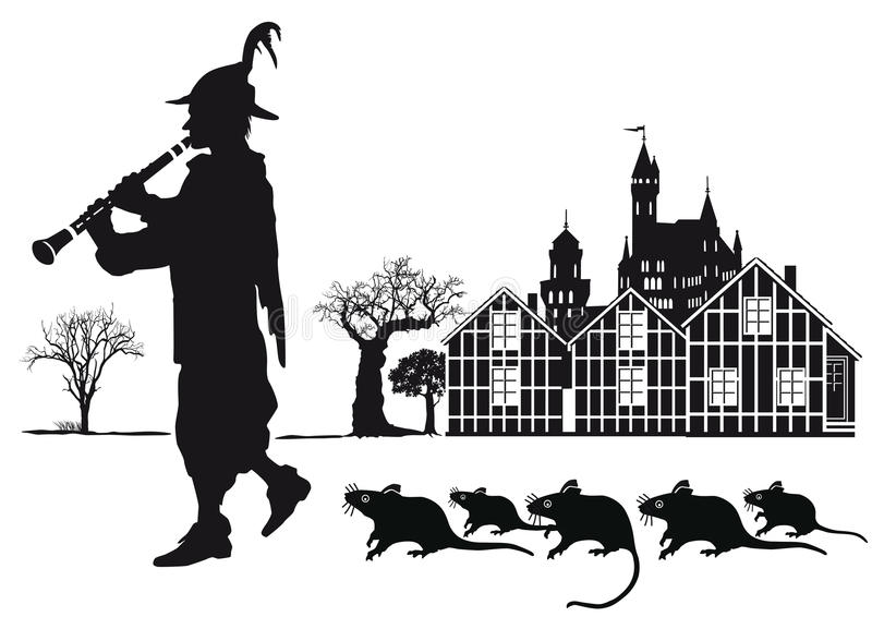 Pied dudziarz Hamelin miasteczko z szczurami royalty ilustracja