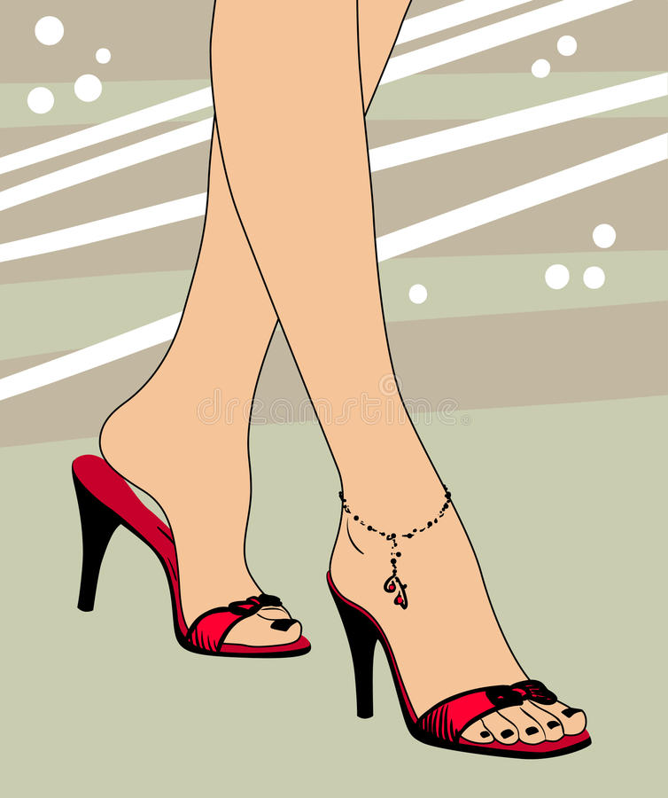 Pied et chaussures illustration stock