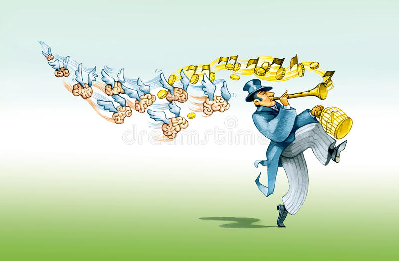 Pied piper. A financier like the Pied Piper brings with him to imprison the minds vector illustration