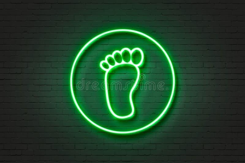 Piede al neon della luce dell'icona illustrazione vettoriale