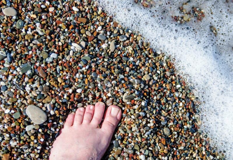 Piede della spiaggia dell'onda del mare fotografia stock libera da diritti