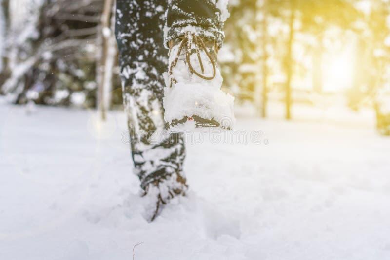 Piede delle gambe dell'uomo negli stivali caldi di inverno che camminano nella neve f fotografie stock libere da diritti