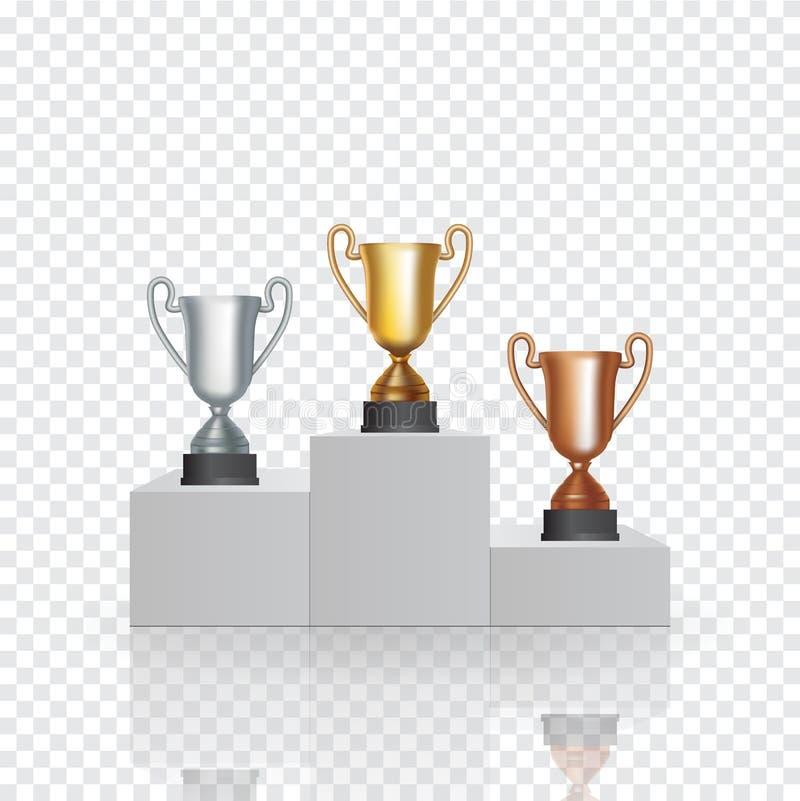 Piedestał z filiżanka zwycięzcą pierwszy złoto drugi srebro i trzeci Brązowy miejsce na przejrzystym, ilustracji