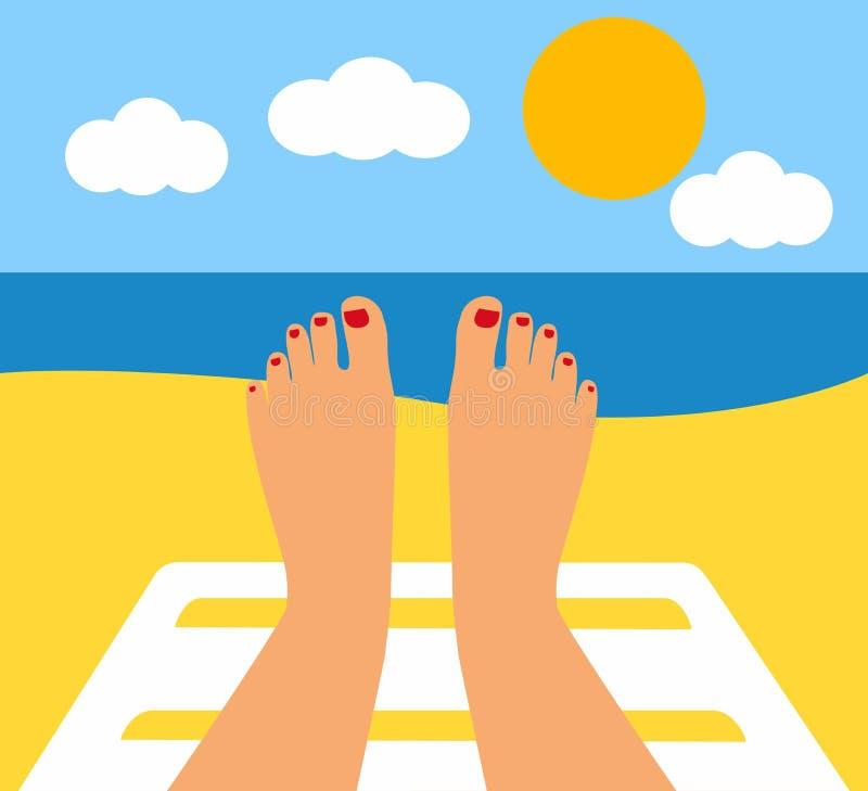 Piedi abbronzati ed il mare gambe femminili contro il mare, spiaggia illustrazione vettoriale
