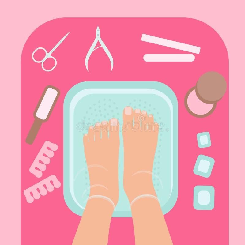 Piedi femminili in ciotola dell'acqua blu, vista superiore Procedure della stazione termale, salone di bellezza, pedicure Strumen royalty illustrazione gratis