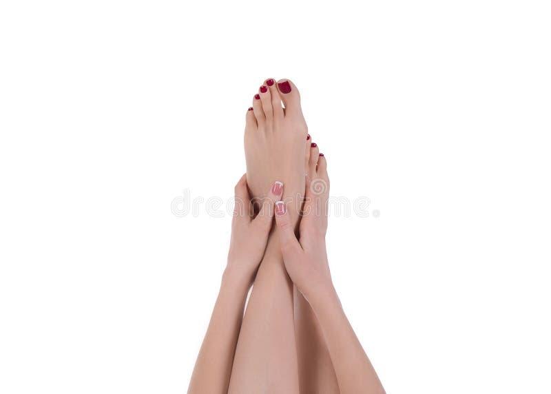 Piedi femminili con il pedicure rosso e mani con il manicure francese, isolato su bianco immagini stock libere da diritti