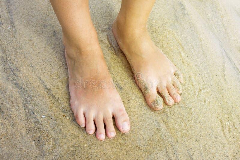 Piedi femminili su una sabbia bagnata sbucciatura immagine stock