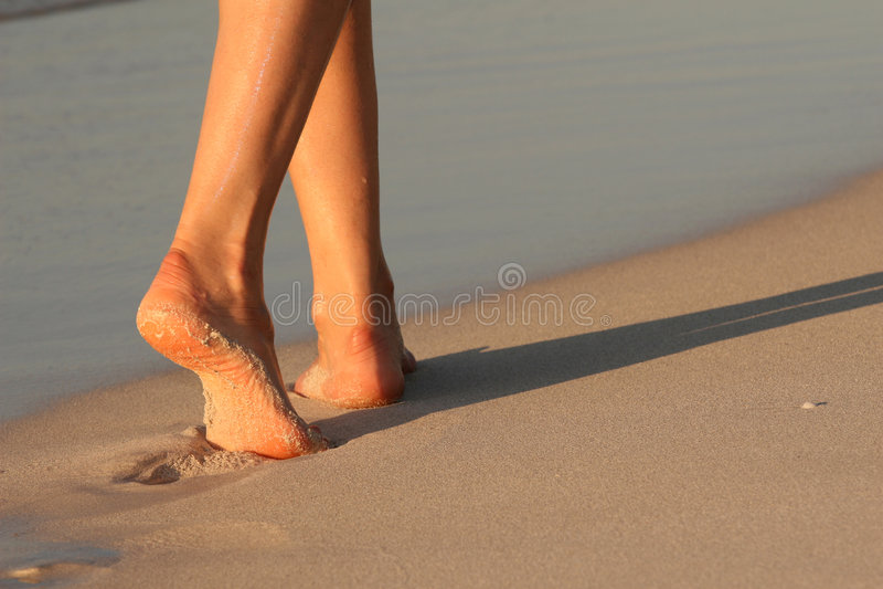 Piedi Sulla Spiaggia Fotografia Stock