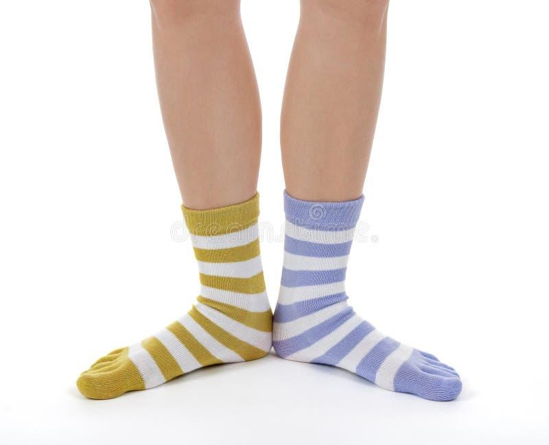 Piedini divertenti in calzini dei colori differenti fotografie stock