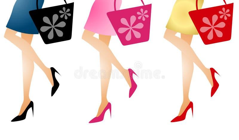 Piedini lunghi andanti di acquisto delle donne illustrazione vettoriale