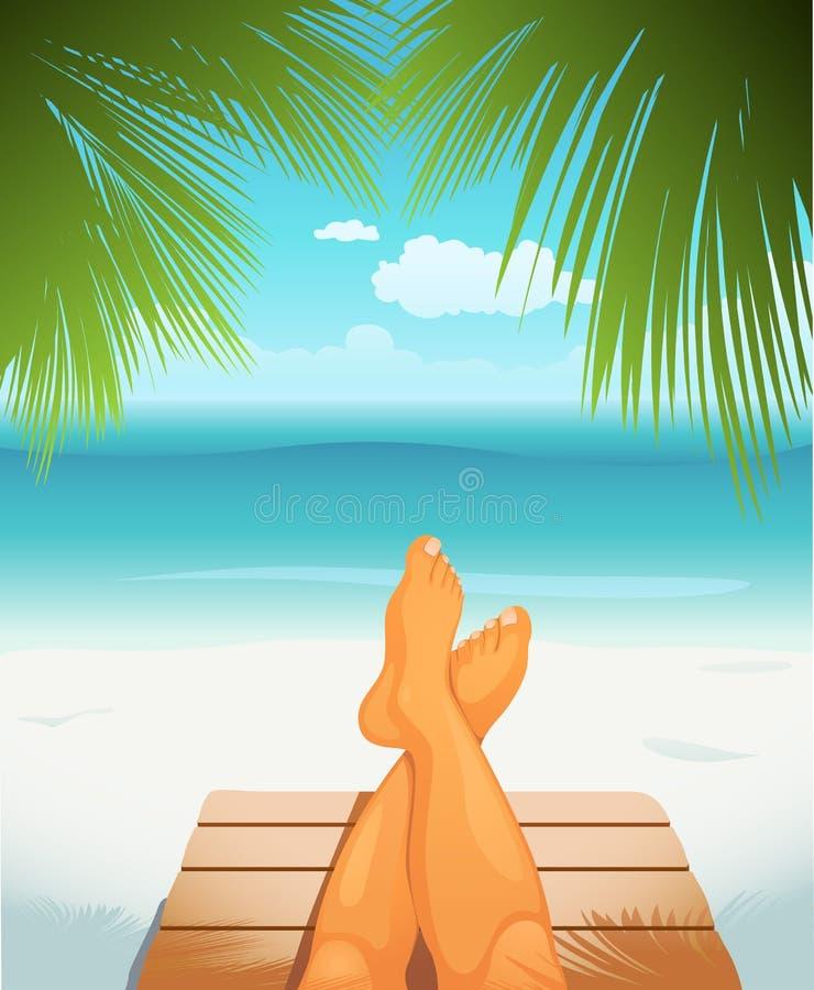Piedini sulla spiaggia illustrazione vettoriale