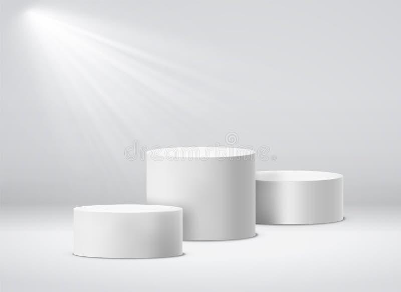 Piedistallo dei vincitori Podio geometrico bianco dello studio 3d con i riflettori Illustrazione isolata vettore vuoto dei piedis illustrazione di stock