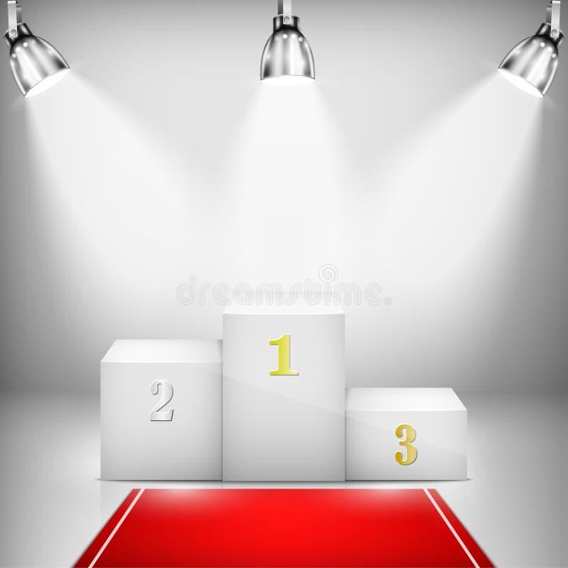 Piedistallo illuminato del vincitore con tappeto rosso royalty illustrazione gratis