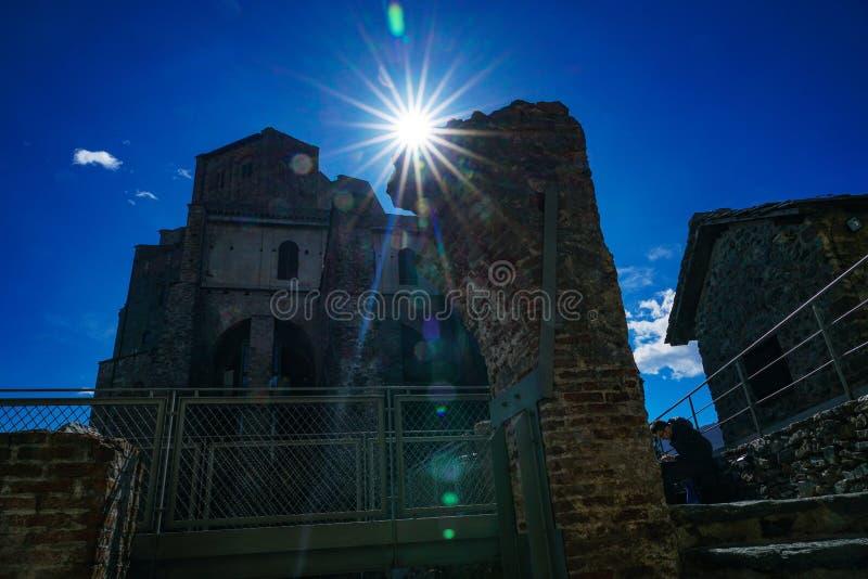 The Sacra di San Michele. Piedmont,Italy The Sacra di San Michele the Archangel, or more properly the Abbey of San Michele della Chiusa, also called Sagra di San stock image
