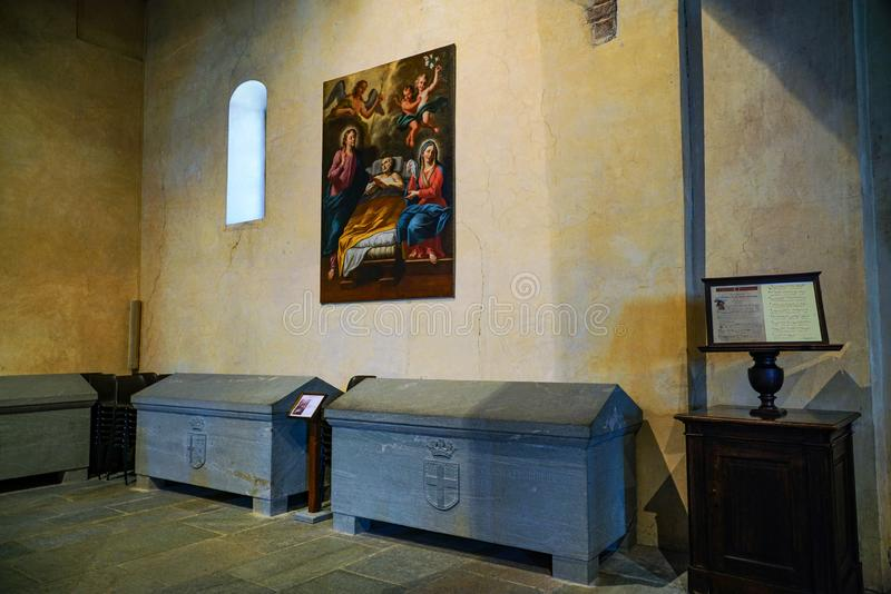 The Sacra di San Michele,The church. Piedmont,Italy The Sacra di San Michele the Archangel, or more properly the Abbey of San Michele della Chiusa, also called royalty free stock image