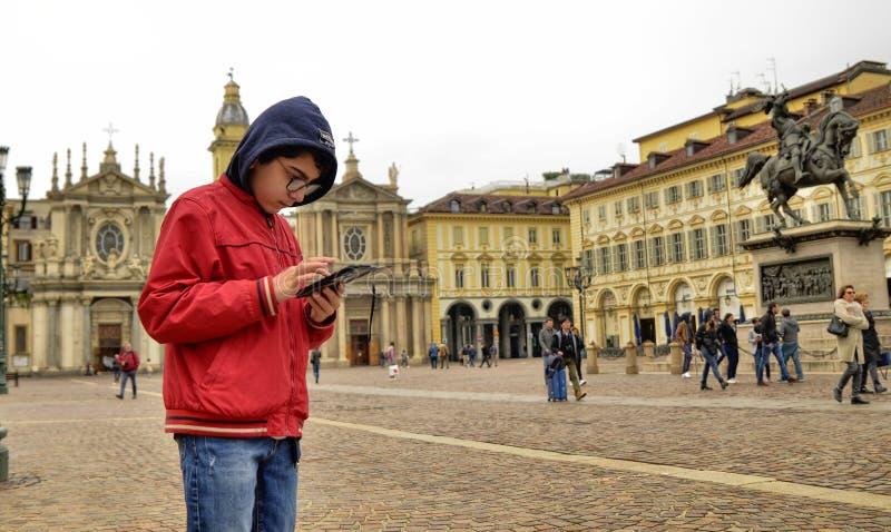 Τορίνο, Piedmont, Ιταλία Τον Απρίλιο του 2019 Πλατεία SAN Carlo στοκ εικόνες με δικαίωμα ελεύθερης χρήσης
