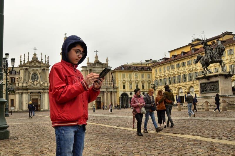 Τορίνο, Piedmont, Ιταλία Τον Απρίλιο του 2019 Πλατεία SAN Carlo στοκ εικόνες
