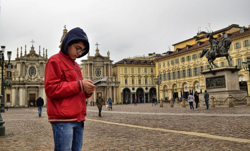 Τορίνο, Piedmont, Ιταλία Τον Απρίλιο του 2019 Πλατεία SAN Carlo στοκ φωτογραφίες με δικαίωμα ελεύθερης χρήσης