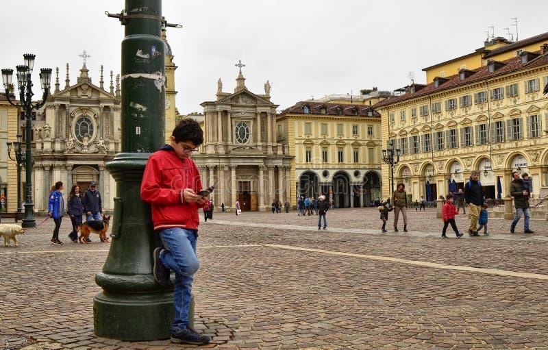 Τορίνο, Piedmont, Ιταλία Τον Απρίλιο του 2019 Πλατεία SAN Carlo στοκ εικόνα