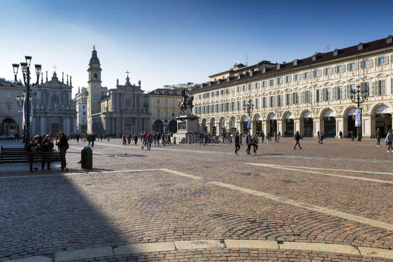 Piedmont - Turin - Itália - praça San Carlo fotografia de stock royalty free