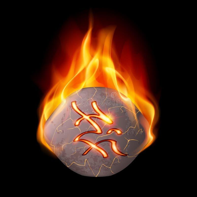 Piedra ardiente con la runa mágica libre illustration