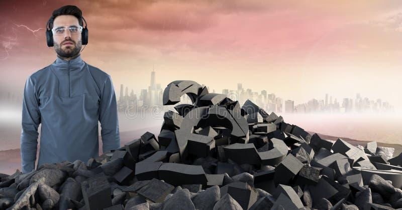 Piedra concreta quebrada con símbolo del dinero y hombre con los auriculares en paisaje urbano foto de archivo