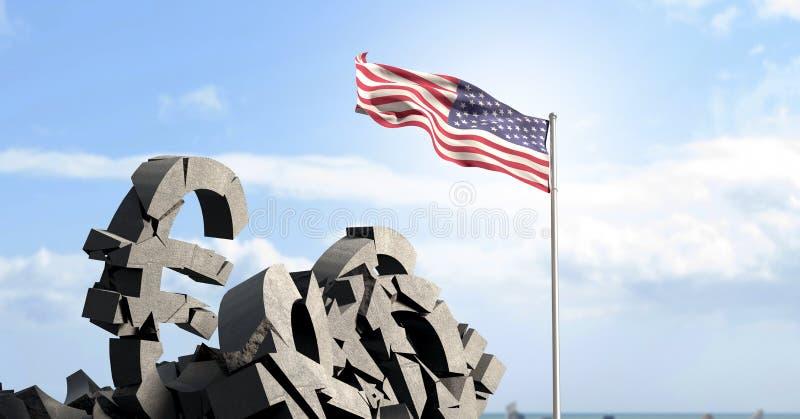 Piedra concreta quebrada con símbolo euro y la bandera americana libre illustration
