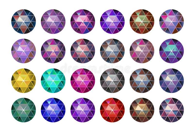 Piedra de gema multicolora, diamantes redondos en blanco Bola poligonal del vector Pendiente multicolora stock de ilustración