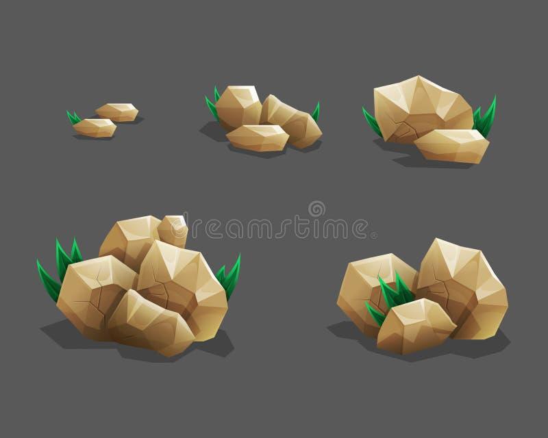 Piedra de la roca fijada con la hierba Piedras y rocas de la historieta en estilo isométrico Sistema de diversos cantos rodados libre illustration