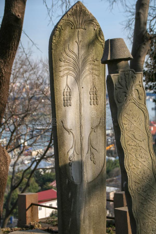 Piedra de la tumba antigua, el período de Ottoman, Turquía foto de archivo libre de regalías