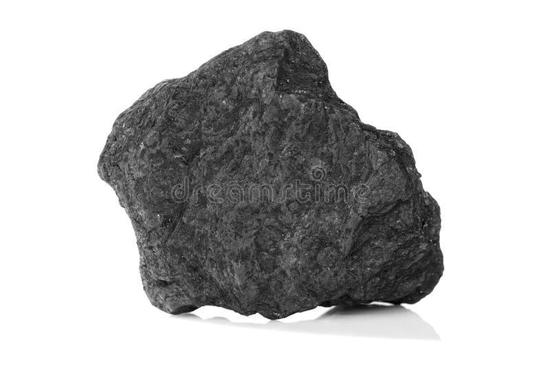 Piedra del carbón mineral aislada en blanco foto de archivo libre de regalías